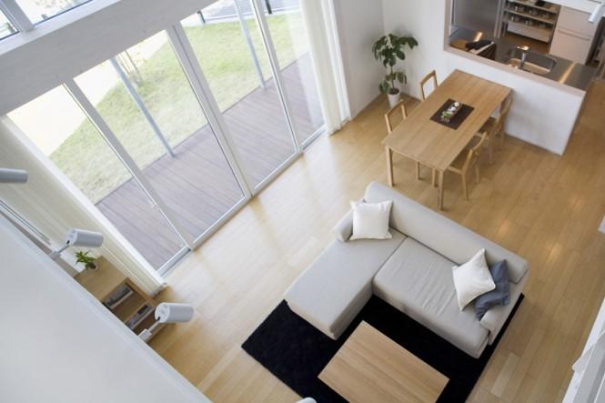 Minimalist Japanese Prefab Neutral Living Room Diner Glass Wall