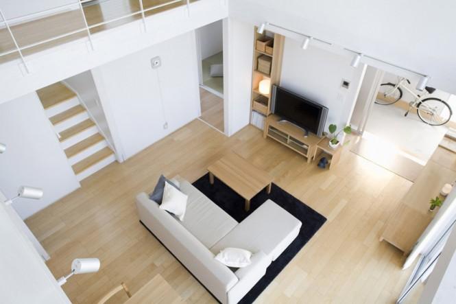Minimalist Japanese Prefab Open Plan Living Area Black Rug