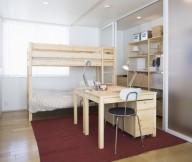 Minimalist Japanese Prefab Pine Bunkbeds Red Carpet