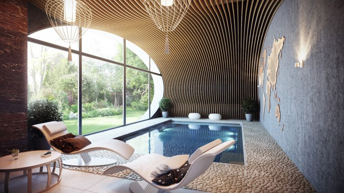 Modern Arched Wall Application Indoor Pool  Brilliant Design Work