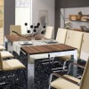 Modern Dining Table Steel Dark Rug Modern Dining Rooms