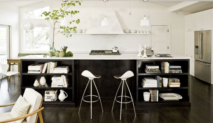 Modern Kitchen With Dark Wood Kitchen Island Designs