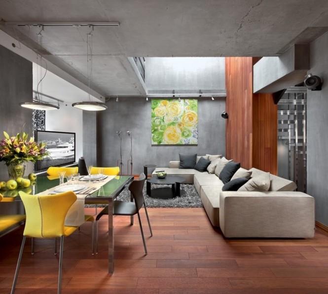 Modern Living Room Diner Wooden Floor Artistic Interior Renders