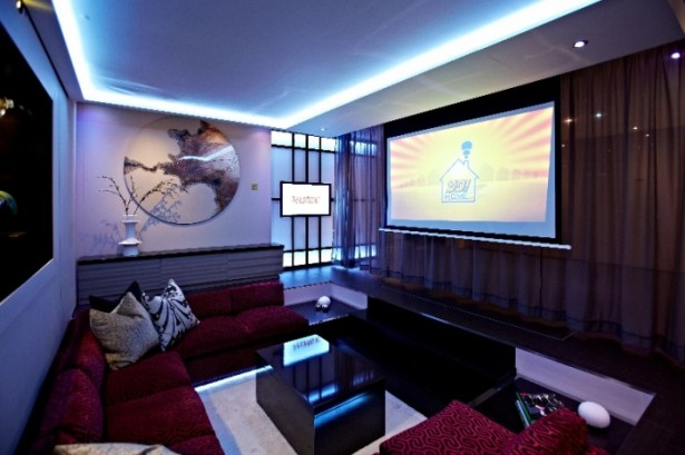 Modern Media Room Big Design In A Small Space Red Sofas