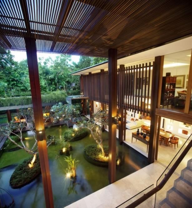 Modern Planting Romantic Lamp Large Pond Serene Sun House