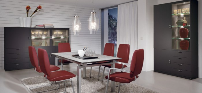 Modern Red Dining Furniture Grey Drawers Modern Dining Rooms