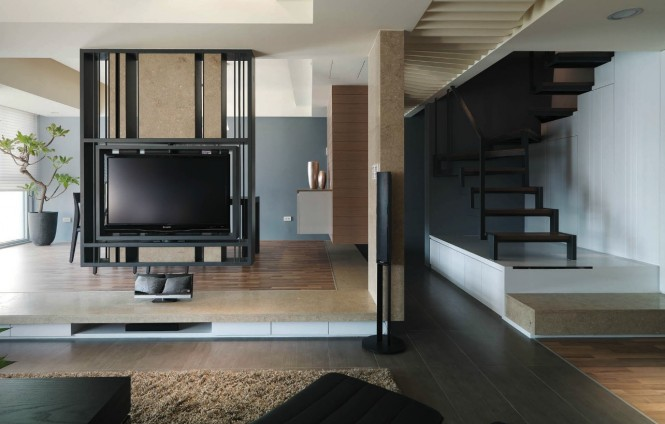 Best Ideas: Modern Semi Minimilist Design Living Room Tv View ...