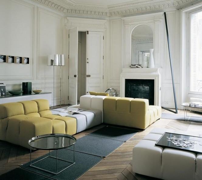 Modern Sofa Ideas Yellow White Sectional Sofa Grey Carpet