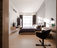 Modern Townhome Design Black Chair Wooden Floor White Wall