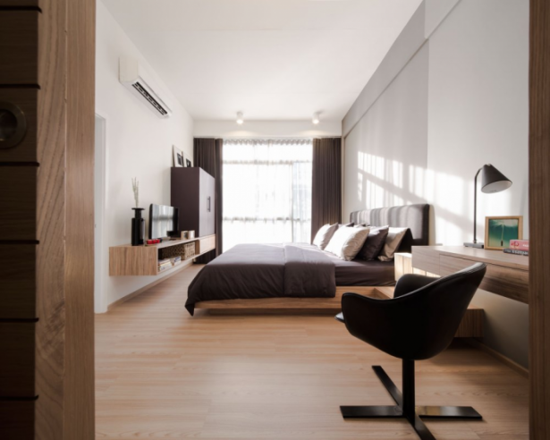 Modern Townhome Design Black Chair Wooden Floor White Wall