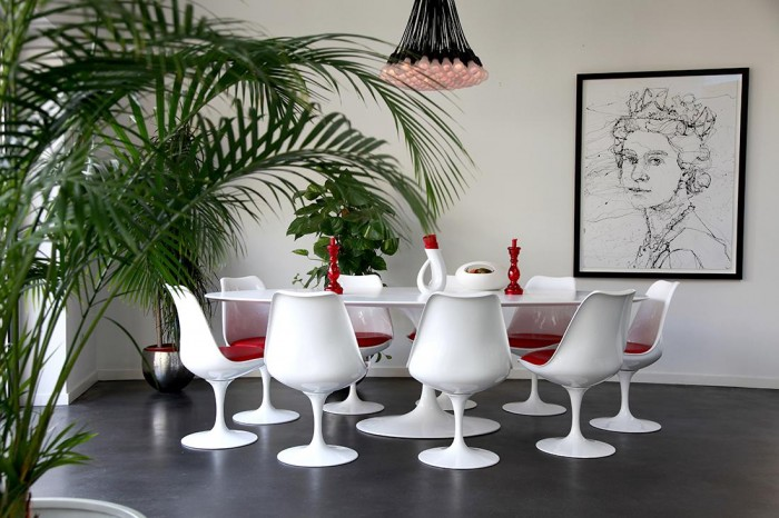 Modern Victorian Home For Dining Room Grey Floor White Chairs