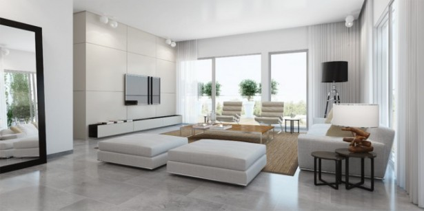 Modern White Living Room Ando Studio Designs