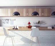 Modern Wooden Kitchen White Brick Wall Modern Kitchens Ideas