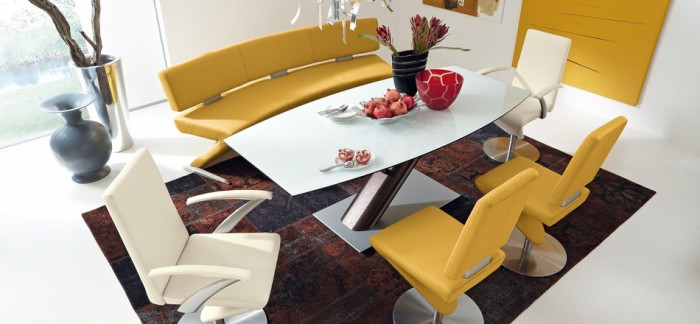 Modern Yellow Leather Dining Set Unique Carpet Modern Dining Rooms