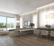 Neutral Open Plan Apartment Ando Studio Designs Wooden Floor