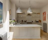 Open Kitchen Shelves White Breakfast Bar Simple Lamp