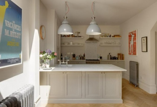Open Kitchen Shelves White Breakfast Bar Simple Lamp