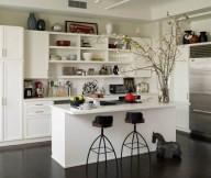 Open Kitchen Shelves White Kitchen Cabinets Dark Wooden Floor