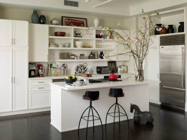 Open Kitchen Shelves White Kitchen Cabinets Dark Wooden Floor