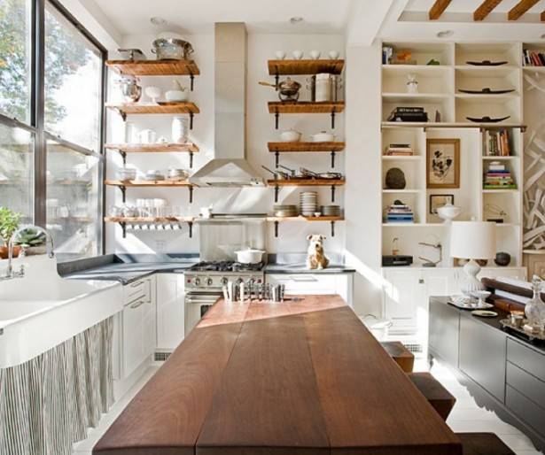 Open Kitchen Shelving Wooden Table Open Kitchen Shelves