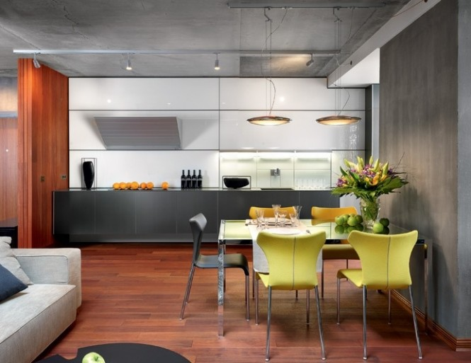 Open Plan Kitchen Diner Yellow Chairs Artistic Interior Renders