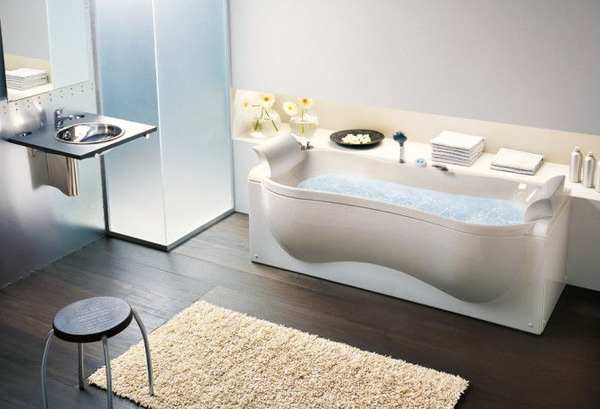 Organic Shaped Bathtub Dark Wooden Floor
