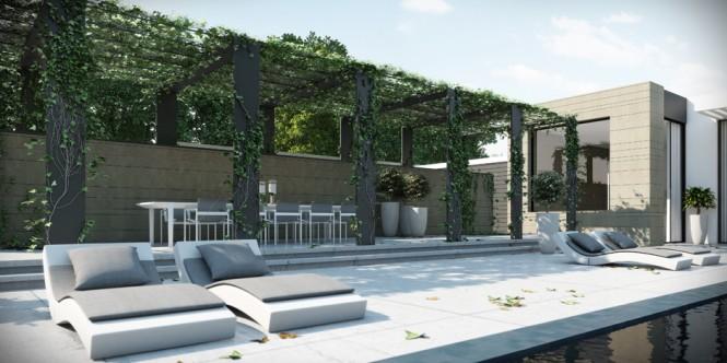 Poolside Sun Patio Ando Studio Designs White Deck