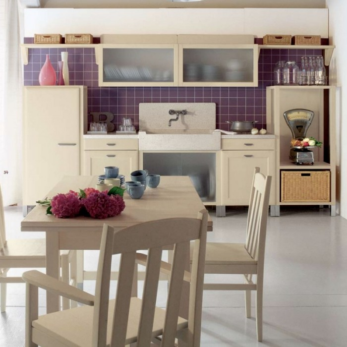 Purple Tile Accents In Country Kitchen Country Kitchens With Italian Style