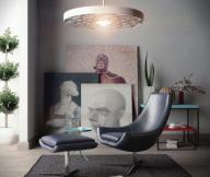Reading Spaces Design  Black Leather Chair Footstool Unique Lamp