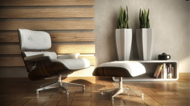 Reading Spaces Design  Contemporary Seating Two Plants Pots