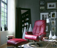 Reading Spaces Design  Red Leather Chair Footstool