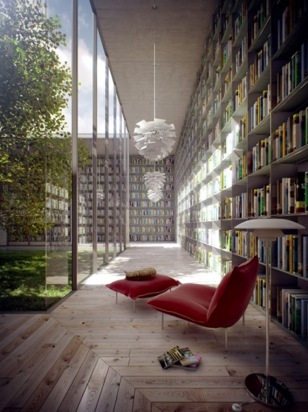 Red Sofa Courtyard View From Library Courtyards Design Ideas