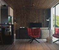Red Sofas Rustic Lounge Reading Spaces Design