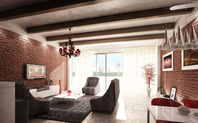 Red-white-gray-living-room-Creative Home Design