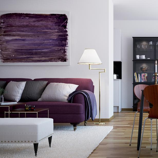 Scandinavian Style City For Purple Sofa Wooden Floor