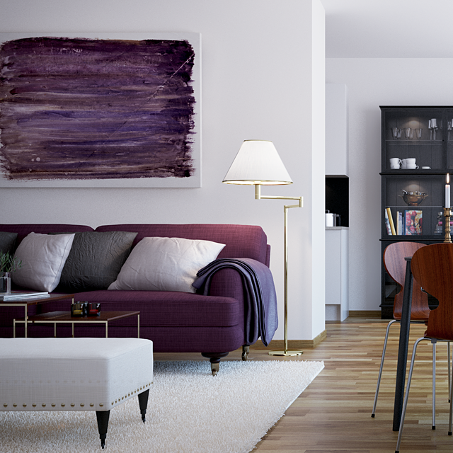 Scandinavian-Style-City-For-Purple-Sofa-Wooden-Floor