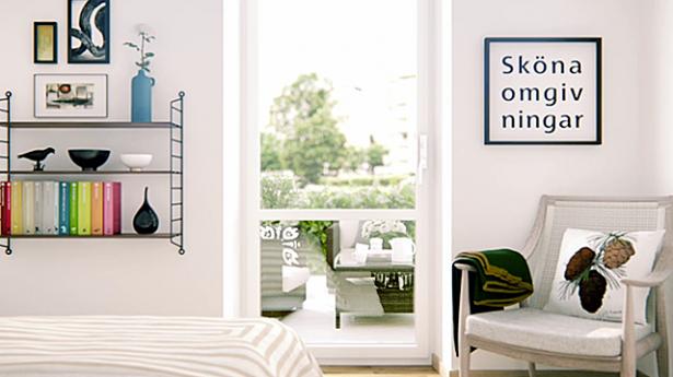 Scandinavian Style City For White Bedroom Terrace