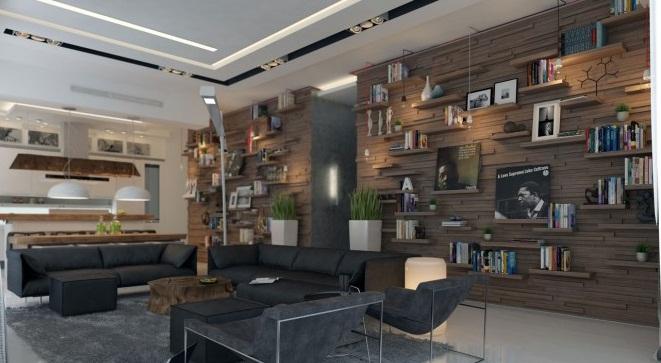 Shelving-arrangement-Creative Home Design grey living room
