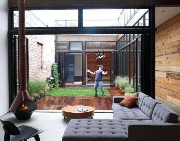 Small Garden  Decked Grass Courtyard Courtyards Design Ideas