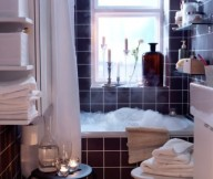 Small Space Living Black White Bathroom Red Wall