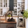 Small Space Living White Country Kitchen Wooden Table