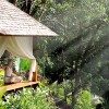 Small Wooden Gazebo Beautiful Tropical Paradise Green View