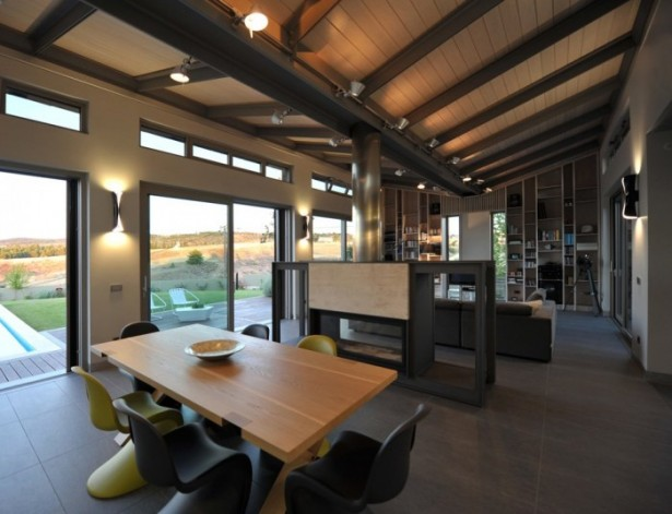 Stunning Modern Family Interior Modern Kitchen Dining Space Wooden Table