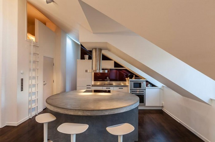 Stunning Modern Stockholm Apartment Modern Kitchen Concrete Island