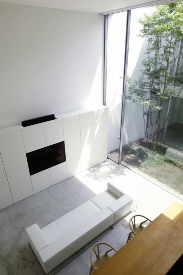 TV Wall White Sofa Courtyard Light Well Courtyards Design Ideas