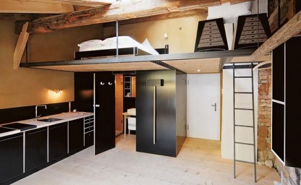 The Berge Winter Retreat Mezzanine Level Black Cabinets
