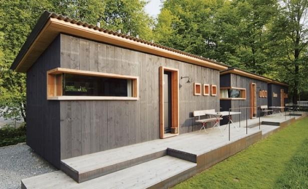 The Berge Winter Retreat Modern Building Grey Wooden Wall
