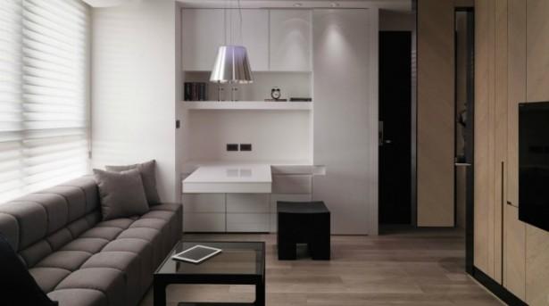 Tiny Taiwanese Apartment Modern Gray Sofa Unique Lamp