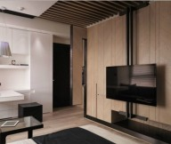 Tiny Taiwanese Apartment Small Apartment Layout Wooden Wall
