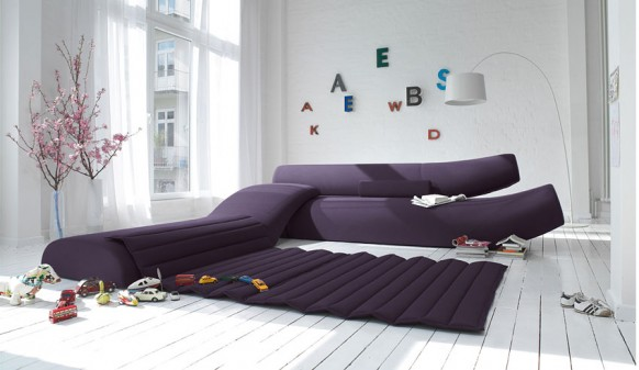 Violet Sofa Colorful Living Room White Wooden Floor